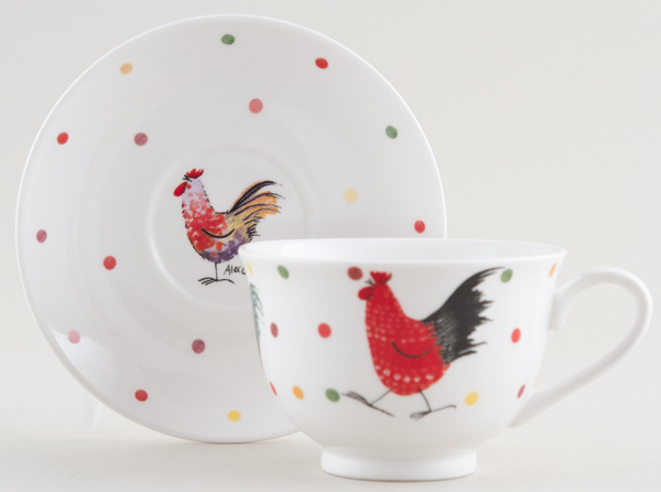 Queens Alex Clark Rooster colour Teacup and Saucer