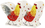Queens Alex Clark Rooster colour Salt and Pepper Pots or Shakers