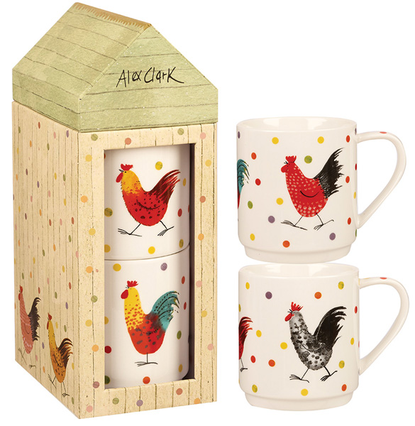 Queens Alex Clark Rooster colour Rooster Mug Set