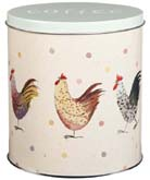 Queens Alex Clark Rooster colour Storage Tin COFFEE