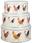 Queens Alex Clark Rooster colour Cake Tins set of 3