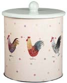 Queens Alex Clark Rooster colour Biscuit Tin