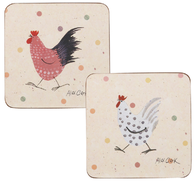 Queens Alex Clark Rooster colour Coasters Set of Four