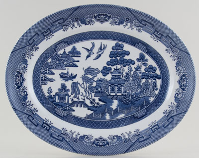Churchill Blue Willow Meat Dish or Platter oval