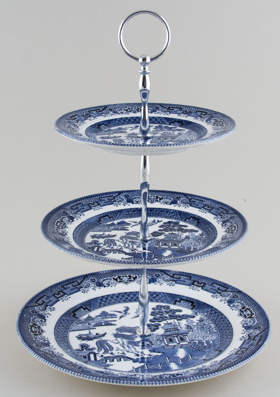 Churchill Blue Willow Cake Stand 3 tier