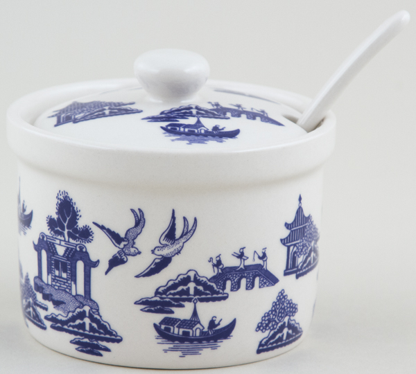Churchill Blue Willow Jam Pot with Spoon