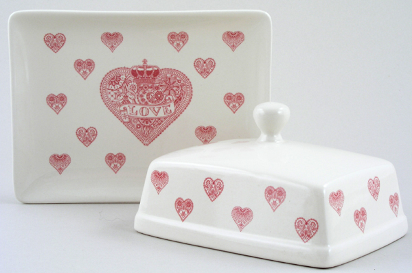 Queens Made with Love pink Butter Dish with Cover