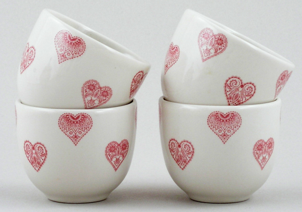 Queens Made with Love pink Egg Cups Set of 4