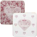 Queens Made with Love pink Coasters set of 4
