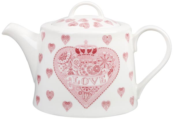 Queens Made with Love pink Teapot