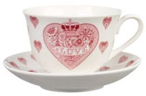 Queens Made with Love pink Teacup and Saucer