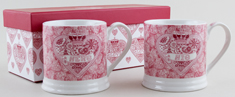 Queens Made with Love pink Mug Set of 2