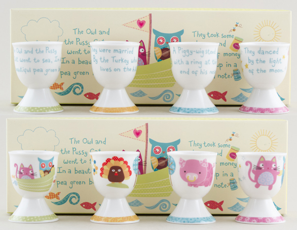 Churchill The Owl and The Pussy Cat Colour Egg Cups Set of 4