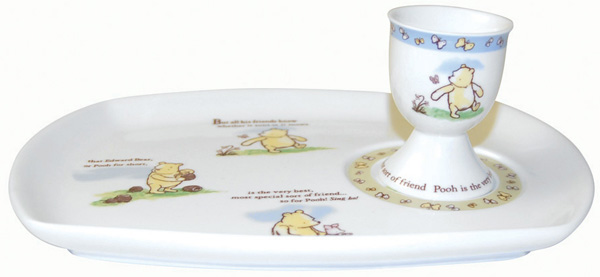 Churchill Winnie the Pooh colour Snack Plate and Egg Cup Friend Forever