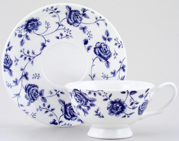 Queens Blue Story Teacup and Saucer Rose Chintz