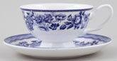 Queens Blue Story Teacup and Saucer Tonquin