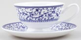 Queens Blue Story Teacup and Saucer Arabesque