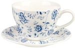 Queens Blue Story Breakfast Cup and Saucer Rose Chintz