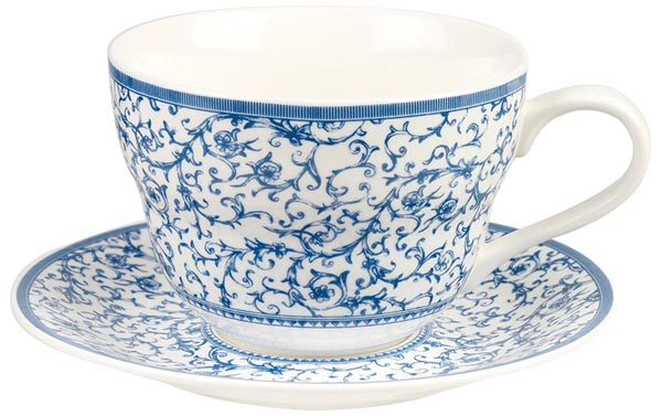 Queens Blue Story Breakfast Cup and Saucer Arabesque