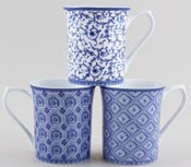 Queens Blue Story Mugs set of 3 Arabesque, Classical and Stucco