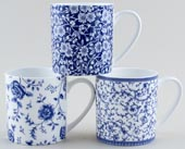 Queens Blue Story Mugs set of 3 Arabesque, Blue Calico & Rose Chintz