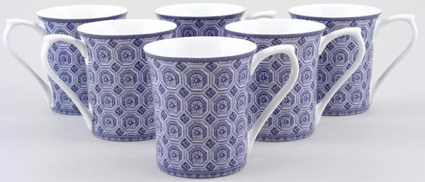 Queens Blue Story Mugs set of 6 Classical