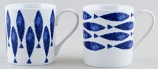 Queens Sieni Fishie on a Dishie Mugs Set of 2
