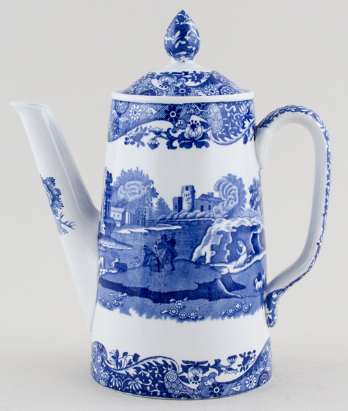 Blue Italian Coffee Maker : Spode Italian Coffee Pot large c1950s Lovers of Blue and White