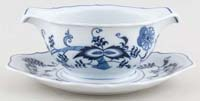 Japan Blue Danube Sauce Boat Double with Fixed Stand c1980s & 1990s