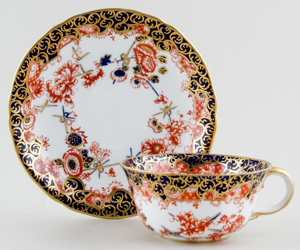 Royal Crown Derby Scissor colour Teacup and Saucer c1903