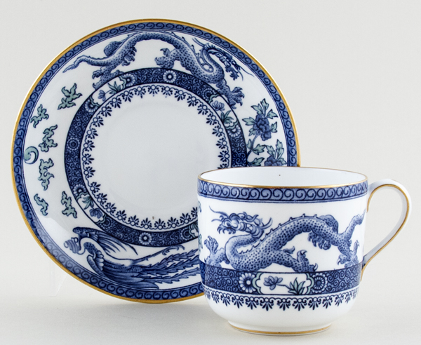 Royal Crown Derby Dragon blue with colour Cup and Saucer c1928
