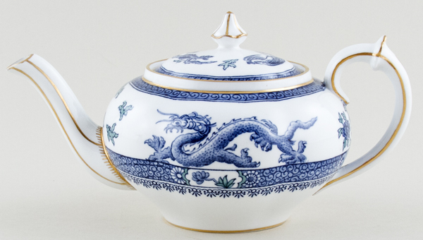 Royal Crown Derby Dragon blue with colour Teapot small c1928