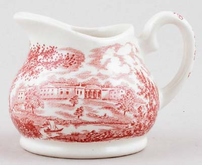 English Ironstone Tableware River Scenes pink Creamer or Jug c1970s ...
