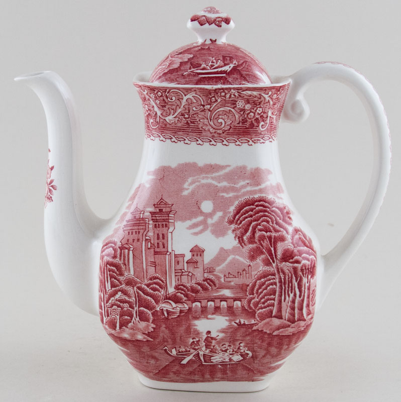 Wedgwood and Co River Scene pink Coffee Pot