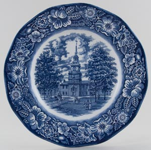 Wedgwood and Co Liberty Blue Plate Independence Hall c1970s