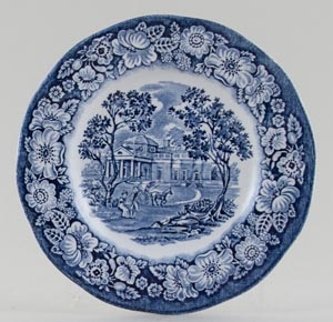 Wedgwood and Co Liberty Blue Plate Monticello c1970s