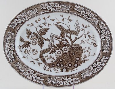 Wedgwood and Co Beatrice brown Meat Dish or Platter c1880