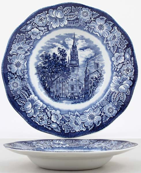 Wedgwood and Co Liberty Blue Dessert or Small Soup Plate Old North Church c1970s