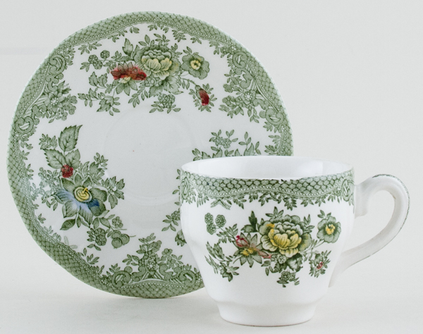 Wedgwood and Co Asiatic Pheasants green with colour Coffee Cup and Saucer c1970