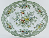 Wedgwood and Co Asiatic Pheasants green with colour Meat Dish or Platter c1960s
