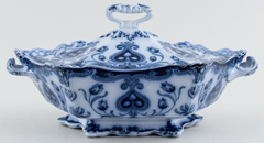 Vegetable Dish with Cover hexagonal c1900