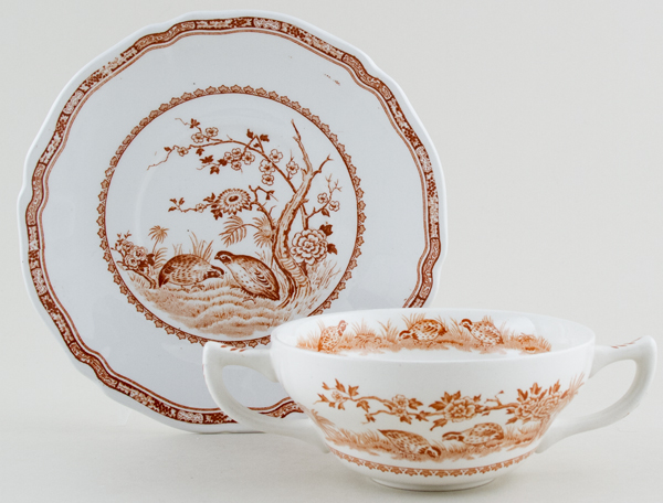 Furnivals Quail brown Soup Cup and Saucer