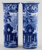 Jones George Abbey Vases Pair Small Spill c1920s