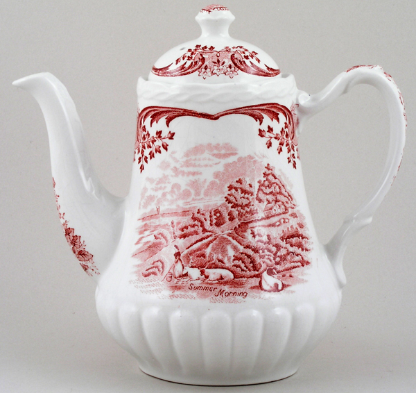 Grindley Scenes After Constable pink Coffee Pot c1950s