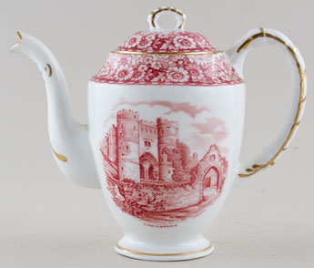 Hudson and Middleton Historical Britain pink Coffee Pot c1950s