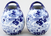 H M and Co Chinese Japan Vases pair of small handled c1900