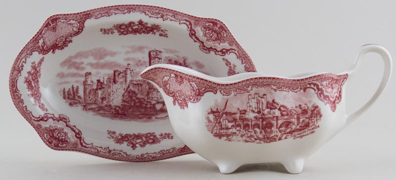 Johnson Bros Old Britain Castles pink Sauce Boat with Stand