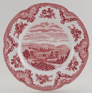 Johnson Bros Old Britain Castles pink Plate c1950s