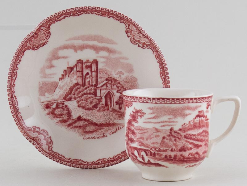 Johnson Bros Old Britain Castles pink Coffee Cup and Saucer c1950s