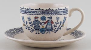 Johnson Bros Hearts and Flowers blue with colour Teacup and Saucer c1980s